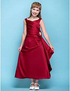 Lanting Bride® Tee-Länge Satin Junior-Brautjungferkleid A-Linie V-Ausschnitt Natürlich mit Blume(n) / Überkreuzte Rüschen