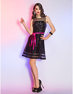 TS Couture Cocktail Party Holiday Dress - Little Black Dress A-line Scoop Short / Mini Organza Sequined with Sash / Ribbon