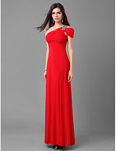 Formal Evening/Prom/Military Ball Dress - Ruby Sheath/Column One Shoulder Floor-length Jersey