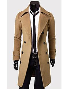 Shangdu Jednoduché Double Breasted Long Vlněný kabát (Camel)