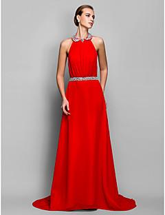 A-linje/Prinsesse Grime Dress - Rød Gulvlengde Chiffon Plus Sizes