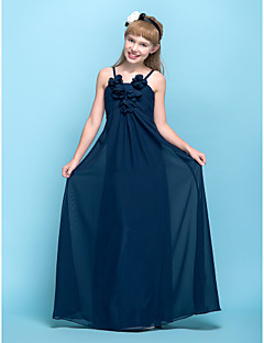 Lanting Bride® Floor-length Chiffon Junior Bridesmaid Dress Sheath / Column Spaghetti Straps Empire with Flower(s) / Ruching