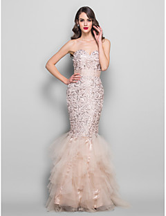 Formal Evening/Prom/Military Ball Dress - Champagne Plus Sizes Trumpet/Mermaid Sweetheart Floor-length Lace/Tulle/Charmeuse/Sequined