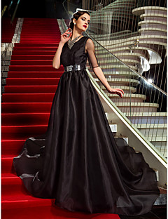 Military Ball/Formal Evening Dress - Black Plus Sizes A-line Jewel Court Train Organza