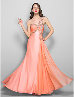 Formal Evening/Prom/Military Ball Dress - Ruby Plus Sizes A-line One Shoulder Floor-length Chiffon/Stretch Satin