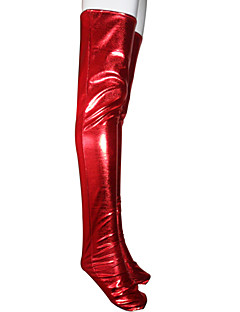 Red Shiny Metallic Long Stockings(2 Pieces)