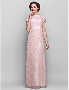 Sheath/Column Plus Sizes Mother of the Bride Dress - Pearl Pink Floor-length Short Sleeve Chiffon/Lace
