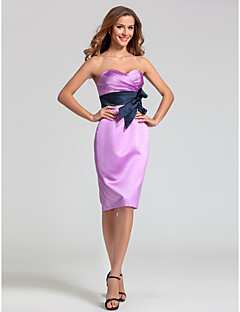 Lanting Knee-length Satin Bridesmaid Dress - Lilac Plus Sizes / Petite Sheath/Column Sweetheart
