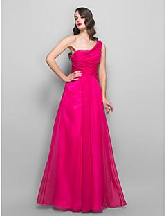 Formal Evening/Prom/Military Ball Dress - Fuchsia Plus Sizes A-line One Shoulder Floor-length Chiffon/Charmeuse