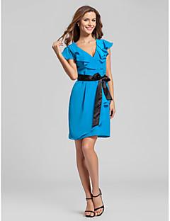 Vestido de Madrinha - Azul Oceano Tubo/Coluna Decote em V Mini ChiffonMaçã/Ampulheta/Triângulo Invertido/Pêra/Rectângulo/Tamanhos
