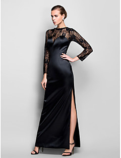 Formal Evening/Military Ball Dress - Black Plus Sizes Sheath/Column Scoop Floor-length Stretch Satin/Lace
