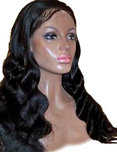 18inch Beatuiful vague de corps de Vierge brésilienne de cheveux sans colle Full Lace Wigs Natural Black