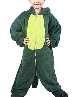 Kigurumi Pajamas Dinosaur Leotard/Onesie Halloween Animal Sleepwear Green Patchwork Flannel Kigurumi Kid Halloween