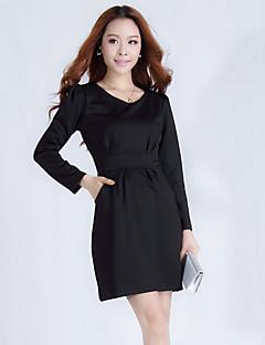 Ailuoer ol 호리 호리한 얇은 긴 소매 숙녀 기인 드레스 (블랙)
