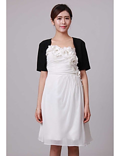 Wedding  Wraps Shrugs Short Sleeve Chiffon Black Wedding / Party/Evening