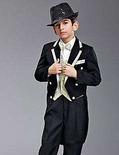 Seven Pieces Black And Gold Swallow-tail Ring Bearer Suit Med To Bow Ties
