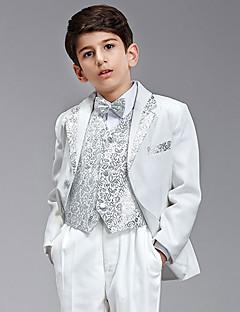 Seven Pieces hvid og sølv Ring Bearer Suit Tuxedo med to Bow Ties