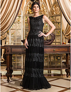 Formal Evening/Prom/Military Ball Dress - Black Plus Sizes Sheath/Column Scoop Floor-length Tulle