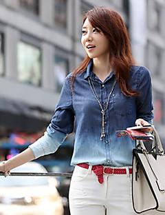 여성의 프린트 셔츠 카라 긴 소매 셔츠,심플 / 스트리트 쉬크 캐쥬얼/데일리 블루 사계절 중간