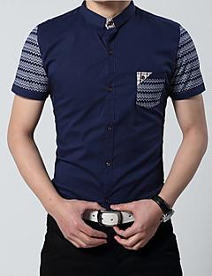 JPNZ 2014 Forår Nye koreanske Fashion Revers Stitching kortærmet Simple Stripes Cotton Shirt (Navy blå)