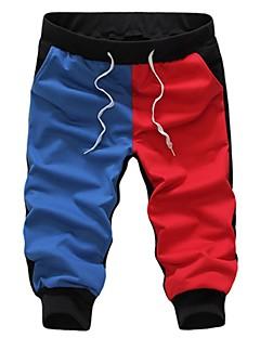 Men's Color Block Casual Shorts,Cotton Blue / Yellow