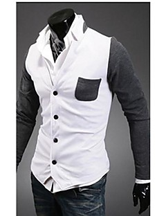 Men's Color Block Casual Blazer,Cotton Long Sleeve Blue / White / Gray
