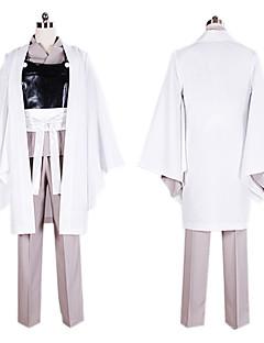 Inspirerad av Gintama Gintoki Sakata Animé Cosplay Kostymer/Dräkter cosplay Suits / Kimono Lappverk Vit / Svart / GråKimono Kappa /