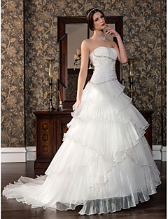 Lan Ting A-line Maternity Wedding Dress - Ivory Sweep/Brush Train Strapless Satin/Tulle