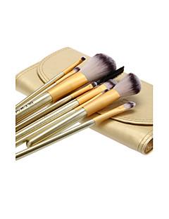 10PCS houten handvat make-up borstel set met Gold kunstleer Pouch