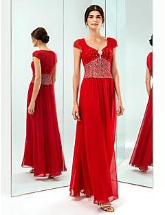 Formal Evening/Military Ball Dress - Ruby Plus Sizes Sheath/Column V-neck Floor-length Chiffon/Lace