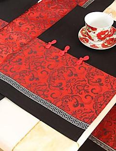 Ensemble de 4 Style chinois Red Polyester S'unir Sets