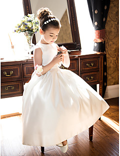 A-line Princess Tea-length Flower Girl Dress - Satin Jewel with Bow(s) Ruching