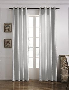 (One Panel Grommet Top) Modern Minimalist White Solid Energy Saving Curtain