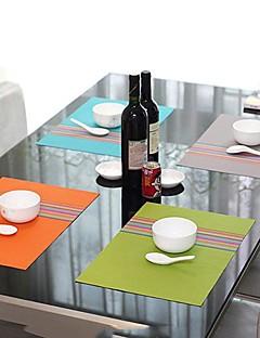 유행 단순히 디너 스타일 분류 된 색깔 줄무늬 플레이스 매트, L45cm x 폭 30cm, 내열 PVC