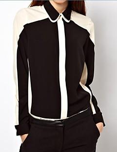 Women's Patchwork Black Blouse/Shirt , Shirt Collar Long Sleeve