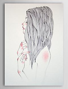 Gergin Frame ile El Yağlıboya Resim Kişi Kız Sideway Yüz