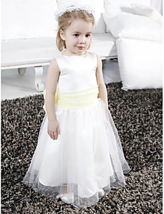 LAN TING BRIDE A-line Princess Floor-length Flower Girl Dress - Satin Tulle Scoop with Bow(s) Draping Sash / Ribbon