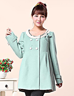 Maternity's Fall And Winter Woolen Round Collar Bowknot Double Breasted Coat