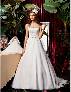 A-line / Princess Wedding Dress - Ivory Sweep/Brush Train Jewel Chiffon / Lace