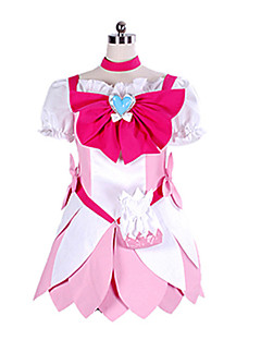 Inspirado por PrettyCure Cure Blossom Anime Fantasias de Cosplay Ternos de Cosplay Patchwork Branco / Rosa Vestido