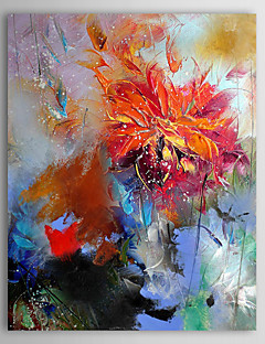 Oil Painting Floral Abstract Red Flower  with Stretched Frame  Hand-Painted Canvas