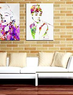 Su tela Art Persone Marilyn Monroe e Audrey Hepburn Set di 2