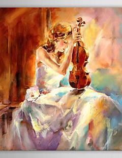 Ölmalerei, das Mädchen mit dem Geigenspiel mit gestreckten Rahmen handbemalte Leinwand