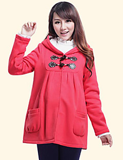 Maternity's Cotton Winter Fashionable Cartoon Pattern Double Pockets Pleat Thicken Coat