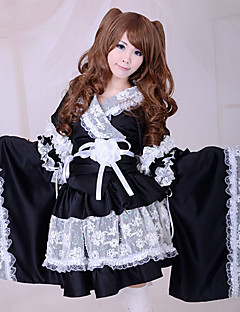 Skirt Maid Suits Wa Lolita Lolita Cosplay Lolita Dress Patchwork Poet Long Sleeve Medium Length Kimono Coat Skirt Armlet Belt Bow For