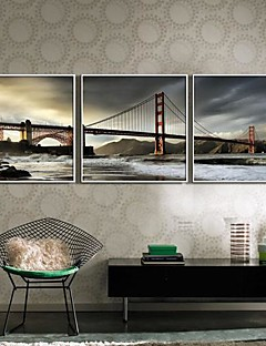 Landschap Ingelijst canvas / Ingelijste set Wall Art,PVC Wit Zonder passepartout met Frame Wall Art