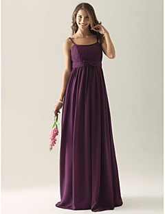 Lanting Bride® Floor-length Chiffon Bridesmaid Dress A-line / Princess / Sheath / Column Spaghetti Straps Plus Size / Petite withBow(s) /