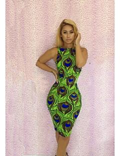 Women's Club Sexy Dress,Animal Print Knee-length Sleeveless Green Polyester / Spandex Spring / Summer / Fall