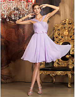 Homecoming Bridesmaid Dress Knee Length Chiffon And Lace A Line Off the Shoulder Dress (1241475)