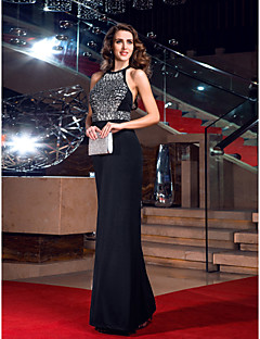 TS Couture® Formal Evening / Prom / Military Ball Dress - Black Plus Sizes / Petite Sheath/Column Jewel Floor-length Jersey